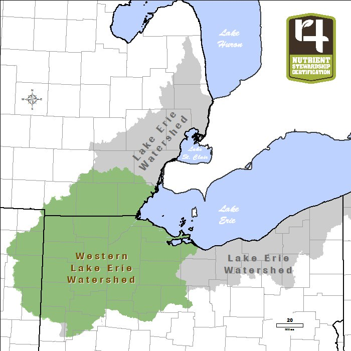 View a map of Lake Erie Western Basin Watershed.